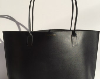 Medium Premium Black Leather Tote