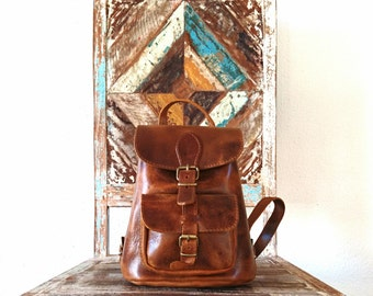 Brown Leather Backpack, Leather Bag, Leather Rucksack, Women Satchel