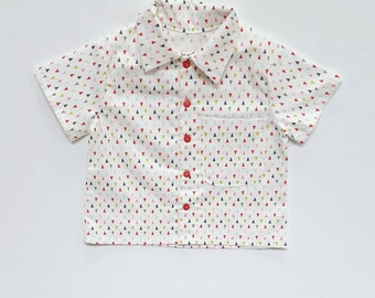 Button Down Shirt for Toddler - Geometric - triangles - Top Boy - baby button down 100% cotton