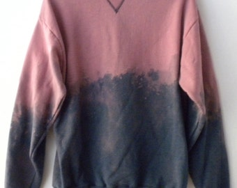 Blue Sweatshirt, Acid wash sweatshirt, Blue Crewneck Sweatshirt, dip dye crew neck, Pink sweatshirt, jumper, tie dye, Grunge, Boho