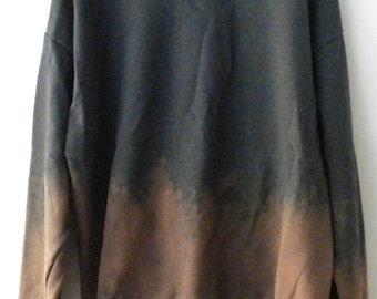 Gray Sweatshirt, Extra Large, Gray Crewneck Sweatshirt, Acid wash sweatshirt, Hipster, dip dye, Extra large, retro, rocker, gift under 35