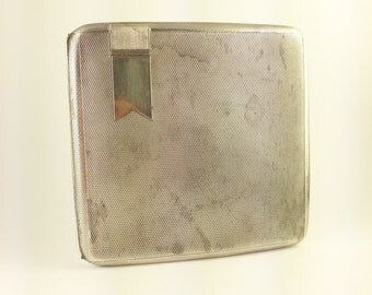 Antique 1933 Cigarette Case Sterling Silver 925 Vintage Carved Cigarette Tin Engine Turned Pattern Small Art Deco
