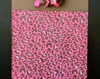 Pink and Brown Animal Print Clipboard