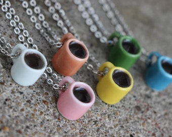 Filled coffee mug necklace - your choice of color