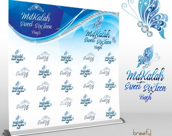 Step and Repeat Butterfly Bling Sweet Sixteen Event Backdrop   Customizable Colors and Copy for Any Occasion   Free Snapchat Geofilter