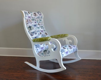 Rocking Chair Velvet Antique White Designer Wood Butterfly