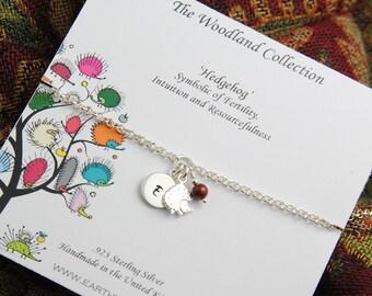 Hedgehog Bracelet, Personalized Bracelet, Sterling Silver Hedgehog, Birthstone Bracelet, Initial Bracelet, Charm Bracelet WB107