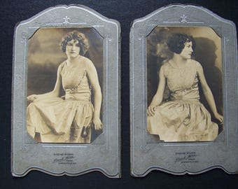 Elegant Young Lady Photography Set of 2 Bobbed Hair, 1920s? Woman in Party Dress