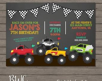 Monster Truck Birthday Invitation, Chalkboard Party Invitation, Kids Birthday Invitation, Truck Invite, Boys Birthday Invite, Digital File