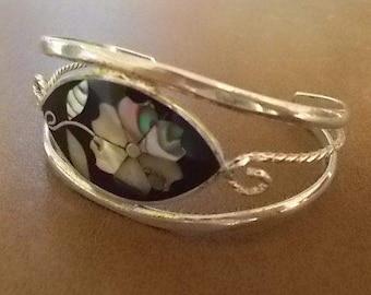 Vintage~MEXICO~Silver~Cuff Bracelet~Inlaid ABALONE~ Black Enamel~Mexico Jewelry~Hippie~1980's~nice condition~Biker Chick~Boho