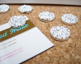 Silver Glitter Magnets, Faux Druzy, Decorative Magnet Set, Pretty Fridge Magnets, Strong, Office Accessories, Cute Office, Cubicle Decor