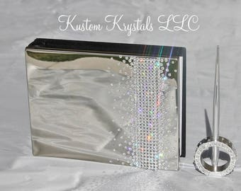 Swarovski Crystal embellished Wedding Guestbook, Anniversary Guestbook with pen. Gradient Design.