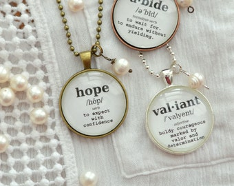 Word Of The Year Pendants - Dictionary Word Pendants - Inspirational Glass Pendant - Hope Necklace