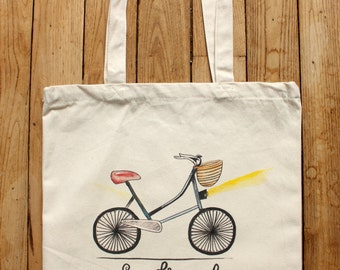 Bicycle tote bag for Francophiles 100% organic cotton FREE SHIPPING from France