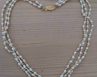 Vintage rice Pearl three strand necklace