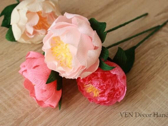 6 Wedding Paper Peonies, Paper Peonies Bouquet, Wedding Paper Flower Centerpiece, Peony Centerpiece, Wedding Bouquet, Bridesmaid Bouquet
