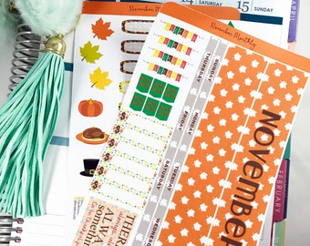November MONTHLY Kit Planner Stickers | Monthly Spread for Erin Condren / Stickers for Erin Condren / Themed Monthly Planner Stickers