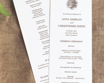 Oak Tree Wedding Wedding Program, Tree Wedding Program, Order of Service, Panel Style, Nature Trees Wedding Ceremony Program