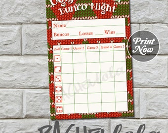 Bunco score card, Christmas Ugly Sweater, instant download