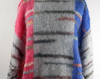 Vintage 1980's Unique Mohair Sweater / Dusty Colors / Mid Century Modern Pattern/ Space Age Punk Fashion / Super Soft and Furry