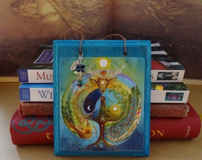 Featured listing image: Deer Medicine Hanging Gemstone Plaque/Celtic/Labyrinth/Ceridwen/Shamanic Journey/Elen of the Ways/World Tree/Deer Goddess/Crow/Moon
