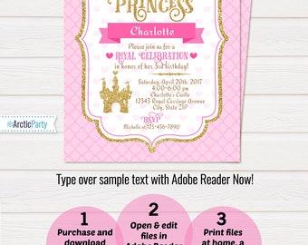 Princess Party Invitations - Princess Invitation - Princess Birthday Invitations - Princess Party Ideas - INSTANT DOWNLOAD - Edit NOW!