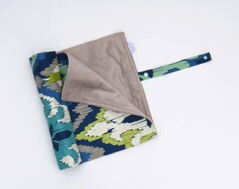 Change Mat Roll-Up Portable Change Mat Blue Green Aztec Floral Baby Change Pad Gender Neutral Stroller Blanket