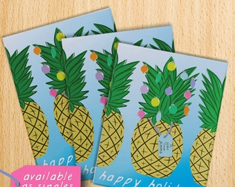 personalized holiday cards, tropical christmas, pineapple card, personalized christmas