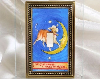 Nursery Rhyme Light Switch Cover - The Cow Jumped Over the Moon - Switch Plate Art - Nursery Switch Plate - Baby Shower Gift - Nursery Decor