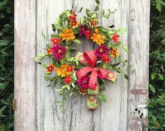 Summer Wreath, Wildflower wreath,Double door Wreath,Front door Wreath,Spring Wreath,All Year Wreath,Door wreath,Orange wreath,Summer Wreaths