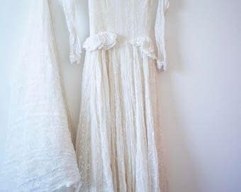 1930's Wedding Gown || Peplum and Lace Gown || Embroidered Summer Wedding Dress