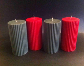 Handmade Custom-Made 3x6 Fluted Soy Pillar Candle