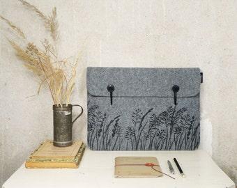 "Mac Book Pro / Air 13"" sleeve - case - grey cover with Wild Grass Pattern, Silkscreen Printed Felt"