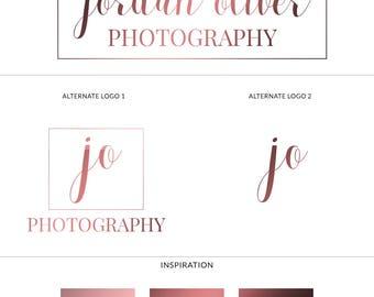 Square Logo Design, Premade Photography Logo, Rose Gold Logo, Minimalist Logo Design, Calligraphy Logo, Branding Kit, Stamp Watermark, s125