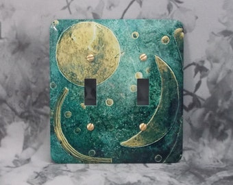 Metal Moon Light Switch Covers - Moon and Stars - Double Toggle - Nebra Sky Disk - 2T Double Switch Cover