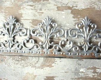 "Metal lace ribbon tin filigree edging decorative trim for projects 3 feet rusty galvanized metal tape Ornate Wedding  2.25"" wide"