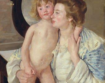 "Mary Cassatt : ""Mother and Child (The Oval Mirror)"" (c. 1899) - Giclee Fine Art Print"