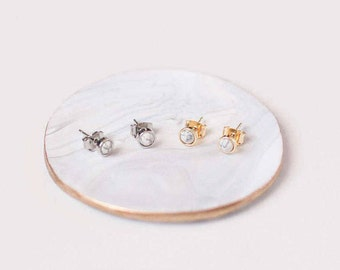 Marble Earrings - Marble Studs Jewelry - Trendy 2017 Jewelry - Marble Jewelry - Modern Gold Jewelry - Marble Earrings Stud Set