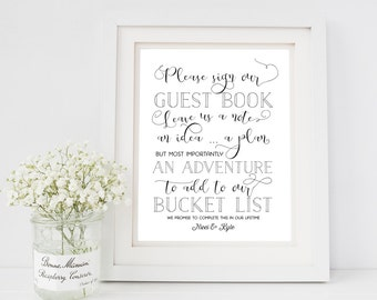 Bucket List Guestbook Sign - Sign Our Guestbook Printable Sign - Instant Download