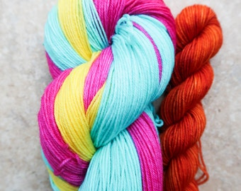Anna - STRIPING + Trim  Super Sock Striping (Superwash Merino/Nylon) PLUS Trim (20g)   Hand Dyed Sock Yarn