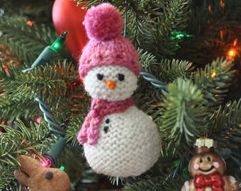 Hand-Knit Snowman Ornament with Pink Hat & Scarf   Snowman Christmas Ornament  Snowman Amigurum
