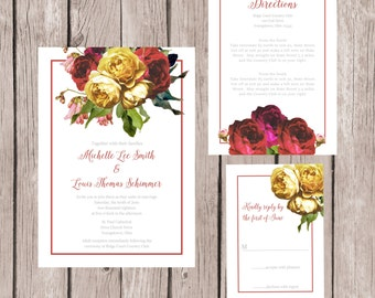 Rose Wedding Invites | Etsy
