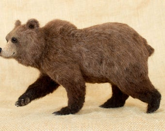 Made to Order Needle Felted Bear: Custom needle felted animal sculpture