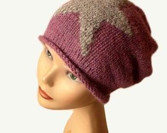 Slouchy Knit Hat / Women Beanie Hat / Knit Hat / Womens Hat / Natural Fiber / Spring Knit Hat / Slouch Beanie Hat / Purple Knit Hat