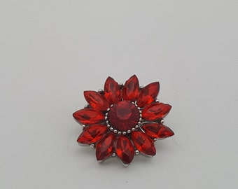 Snap Red Crystal Flower Charm Snap Popper