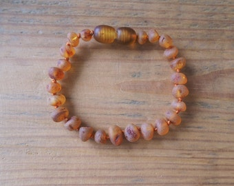RAW Baltic Amber Teething Bracelet  for your Baby cognac color amber beads