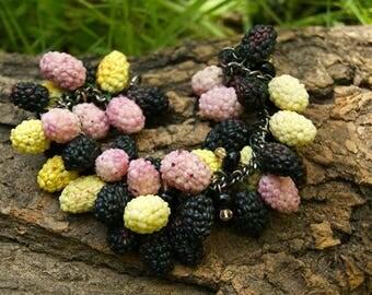 Mulberry,mulberry fruit,Berry bracelet,Fruit bracelet,fruit jewelry,Summer jewelry,berry bracelet,sweet bracelet,Boysenberry,Charm Bracelet