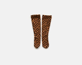Cheetah Stretch Knit Thigh High Socks / Infant / Baby / Toddler / Children's / Over the Knee / Baby Shower Gift / Knee Highs