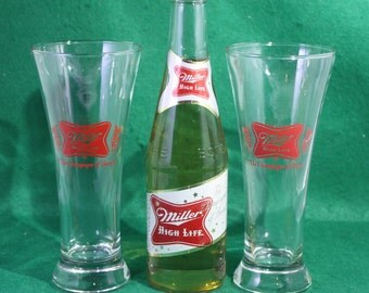 Pair of vintage classic Miller Red label footed Pilsner flute style beer glasses