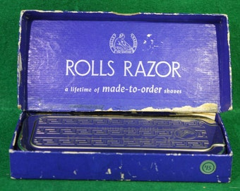 Vintage Rolls Razor / Razor Blade Sharpening System /Art Deco Box with Intact Stones and Strap on Each Side - 1940s